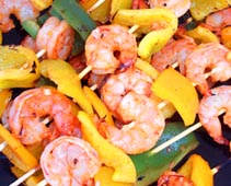 spicy grilled shrimp and bell pepper skewers